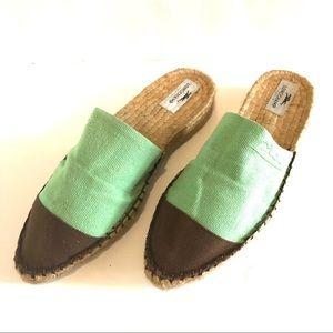 COPY - Longchamp Brown & Green Espadrille Flat Mu…
